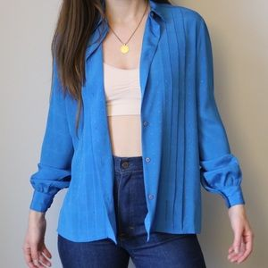 70's Blue Pleated Silk Blouse with Cuffed Sleeves